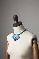Blue Embellished Necklace w/ Leather - Necklace - Megan Crook