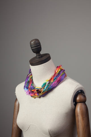 Silk Yarn Necklace in Rainbow Bright