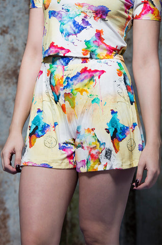 Flared Shorts in World Map Digital Print Jersey