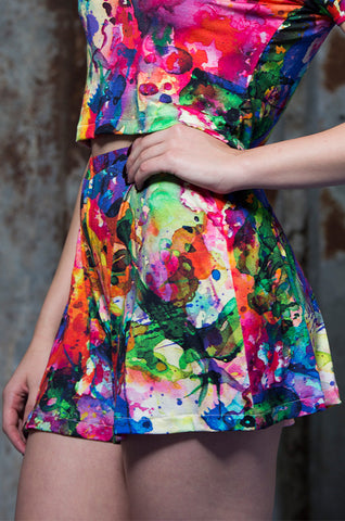 Flared Shorts in Rainbow Watercolour Digital Print Jersey