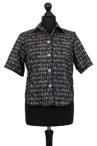 Liberty Blouse in Tiny Dancer Grey and Black