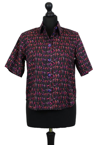 Liberty Blouse in Tiny Dancer Plum and Black