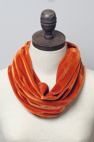 Velvet Cowl in Burnt Orange