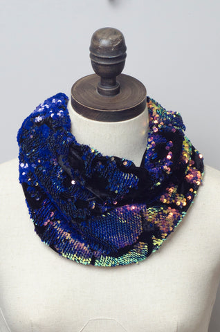 Sequin Embellished Velvet Cowl in Rose Gold & Blue