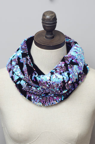 Sequin Embellished Velvet Cowl in Opal