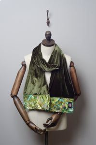 Embellished Velvet Scarf in Khaki Green - Scarf - Megan Crook