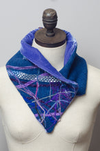 Load image into Gallery viewer, Embellished Wool & Velvet Neck Wrap in Slate Blue - Scarf - Megan Crook