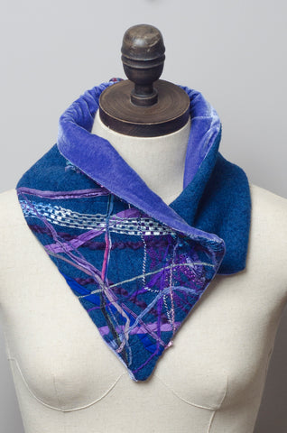 Embellished Wool & Velvet Neck Wrap in Slate Blue