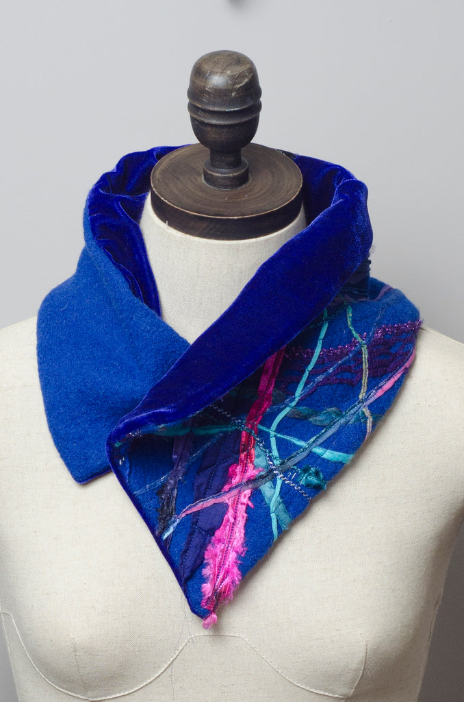 Embellished Wool & Velvet Neck Wrap in Royal Blue - Scarf - Megan Crook