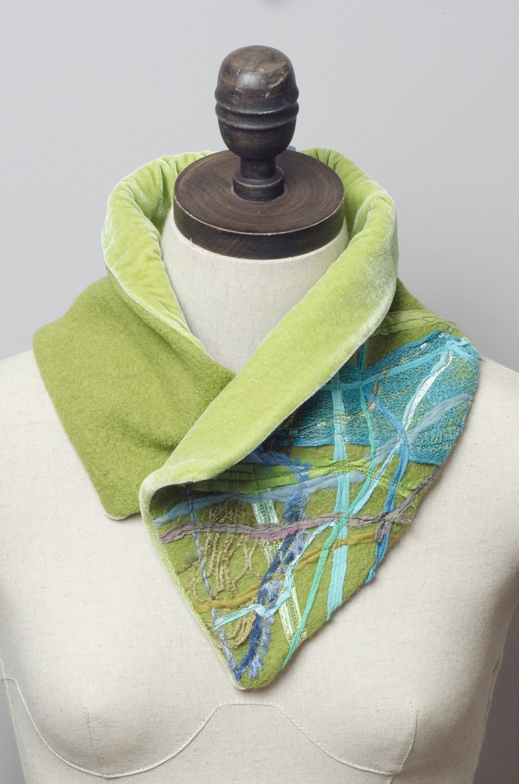Embellished Wool & Velvet Neck Wrap in Lime Green - Scarf - Megan Crook