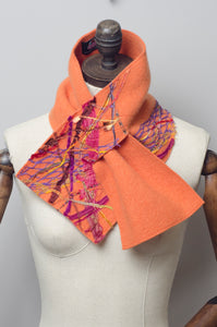 Embellished Lambswool Neck Wrap in Orange - Scarf - Megan Crook