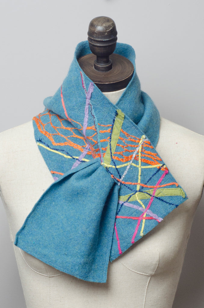 Embellished Lambswool Neck Wrap in Cornflower Blue - Scarf - Megan Crook
