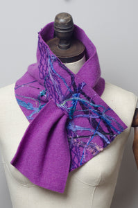 Embellished Lambswool Neck Wrap in Royal Purple - Scarf - Megan Crook