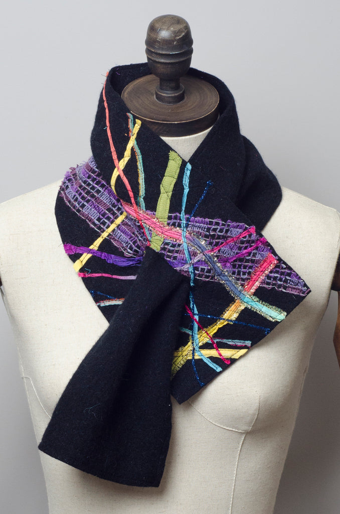 Embellished Lambswool Neck Wrap in Black - Scarf - Megan Crook
