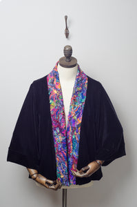 Embellished Velvet Kimono in Black with Dark Rainbow Lapel - Kimono - Megan Crook