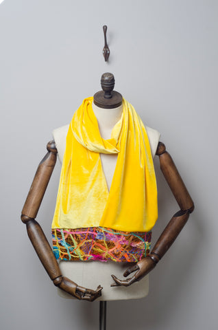 Embellished Velvet Scarf in Yellow