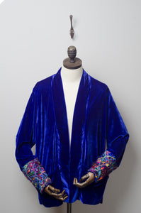 Velvet Jacket in Lapis Blue with Dark Rainbow Embellished Cuffs - Jacket - Megan Crook