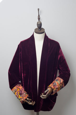 Velvet Jacket in Burgundy with Autumnal Embellished Cuffs