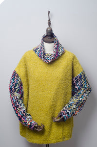 Bouclé Turtleneck Jumper with Contrast Sleeves in Chartreuse Yellow - Jumper - Megan Crook
