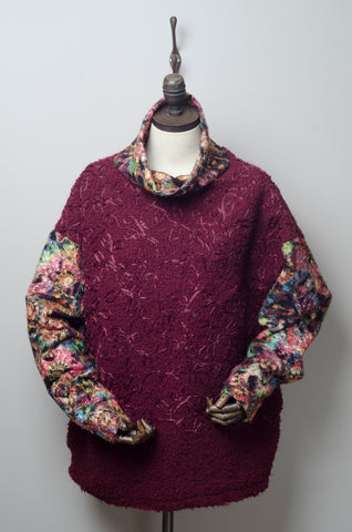 Bouclé Turtleneck Jumper with Contrast Sleeves in Burgundy