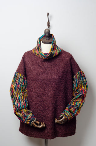 Bouclé Turtleneck Jumper with Contrast Sleeves in Brown