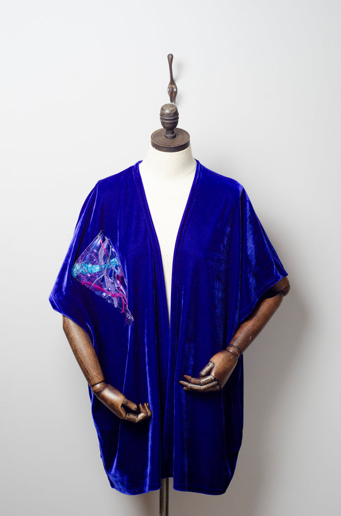 Velvet Blanket Cardigan in Lapis Blue