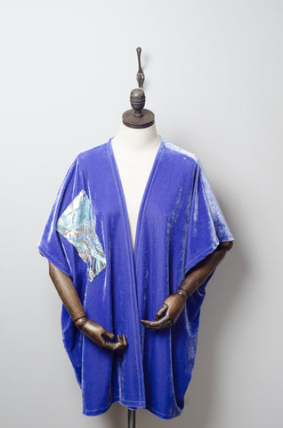 Velvet Blanket Cardigan in Periwinkle Blue
