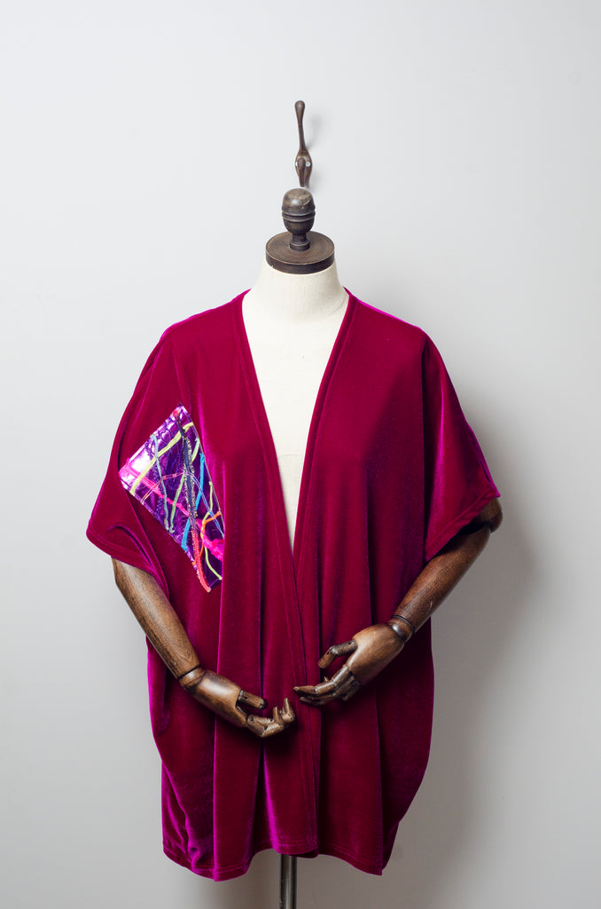 Velvet Blanket Cardigan in Cerise Red