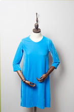 Load image into Gallery viewer, Turquoise Velvet Swing Dress - Dress - Megan Crook