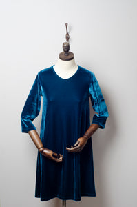 Teal Velvet Swing Dress