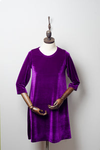 Purple Velvet Swing Dress - Dress - Megan Crook