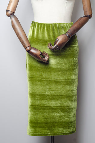 Velvet Midi Skirt in Olive Green
