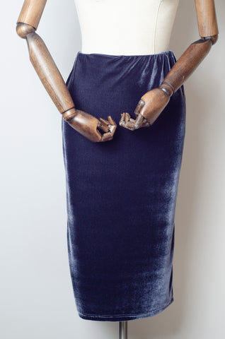 Velvet Midi Skirt in Steel Grey