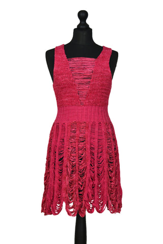 Peek-a-boo Tier Dress in Coral Red (SALE)