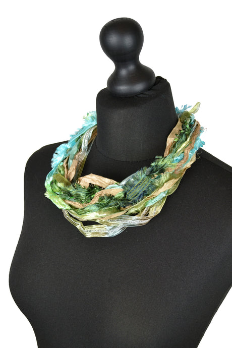 Silk Yarn Necklace in Green and Gold - Necklace - Megan Crook