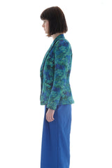 Liberty Fleece Blazer in Teal Floral Emerald Bay Print - Jacket - Megan Crook