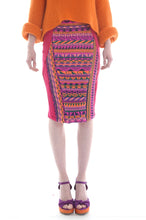 Load image into Gallery viewer, Fair Isle Pencil Skirt in Pink, Orange, and Purple Geometric Pattern - Skirt - Megan Crook