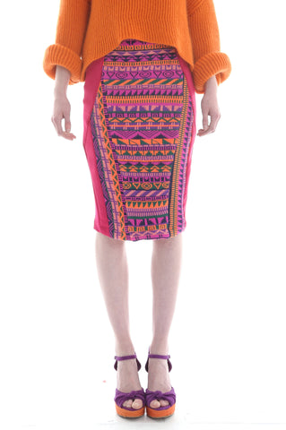 Fairisle Pencil Skirt in Pink, Orange, and Purple Geometric Pattern