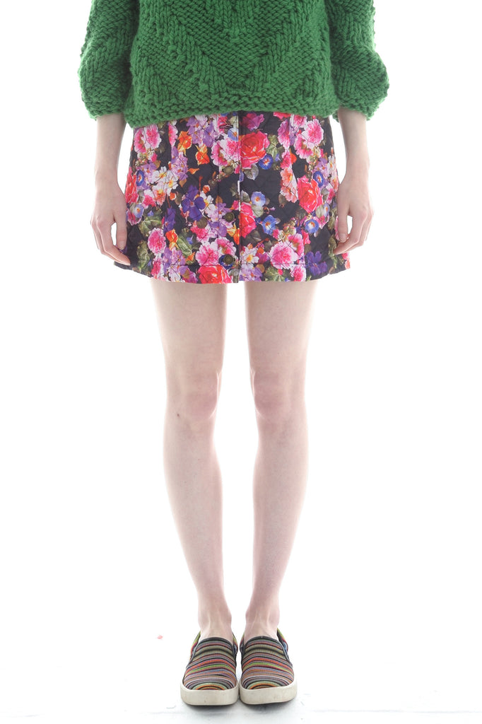 Quilted Button Front Skirt in Floral Print - Skirt - Megan Crook