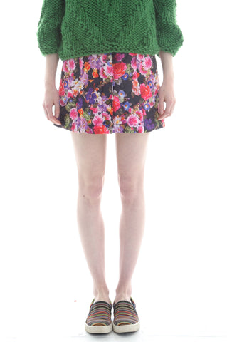 Quilted Button Front Skirt in Floral Print