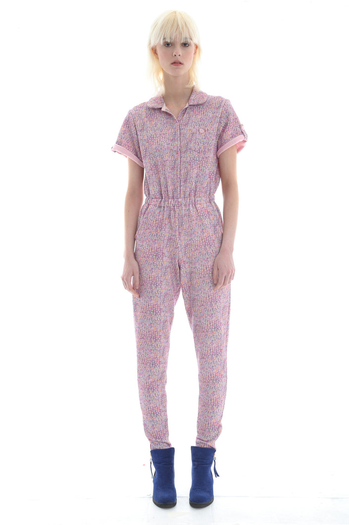 Liberty French Terry Boilersuit in Pale Pink - Jumpsuit - Megan Crook