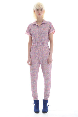 Liberty French Terry Boilersuit in Pale Pink