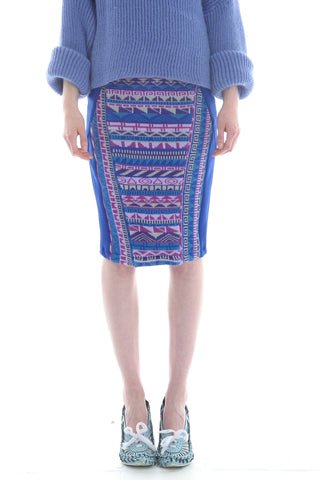 Fairisle Pencil Skirt in Blue, Purple and Lilac Geometric Pattern