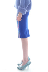Fairisle Pencil Skirt in Blue, Purple and Lilac Geometric Pattern - Skirt - Megan Crook