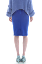 Load image into Gallery viewer, Fair Isle Pencil Skirt in Blue, Purple and Lilac Geometric Pattern - Skirt - Megan Crook