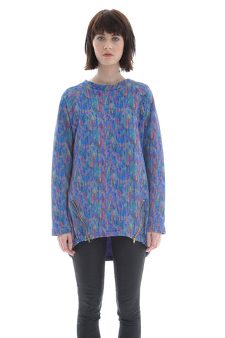 Liberty Fleece Raglan in Blue, Pink, Purple, Green Multicolour