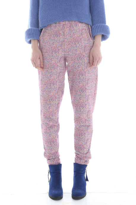 Liberty French Terry Joggers in Pink Jewelled Watercolour Print - Trouser - Megan Crook