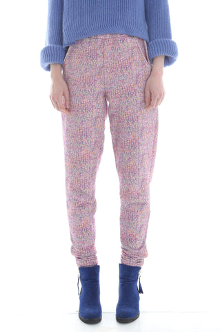 Liberty French Terry Joggers in Pink Jewelled Watercolour Print