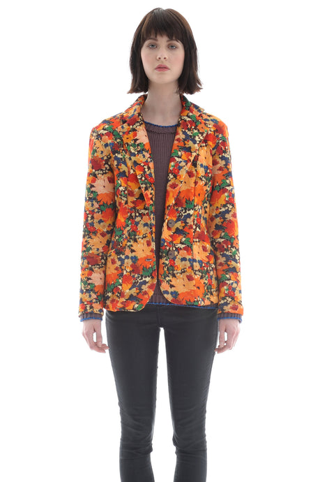 Liberty Fleece Blazer in Abstract Floral Print - Jacket - Megan Crook