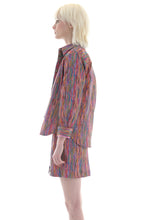 Load image into Gallery viewer, Liberty Button Front Skirt in Rainbow Multicolour Art Print - Skirt - Megan Crook